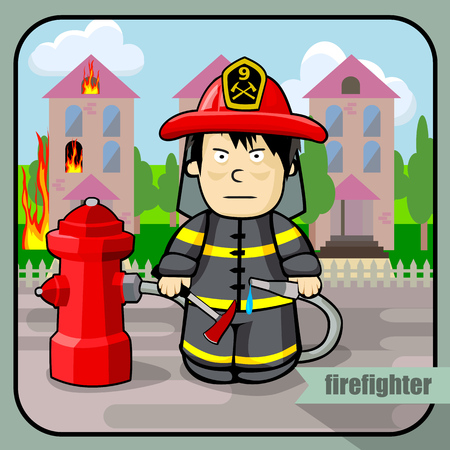 severe: Vector person character portrait. Firefighter portrait isolated on burning building background. Cartoon style. Human profession icon. Illustration