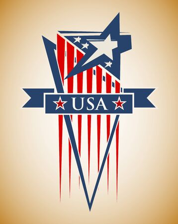 Vector composition with the symbols of the United States. Patriotic label USA. 向量圖像