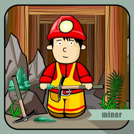 mines: Vector person character portrait. Miner portrait isolated on mines background. Cartoon style. Human profession icon.