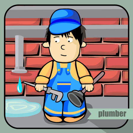 obstruction: Vector person character portrait. Plumber portrait isolated on unpainted fence background. Cartoon style. Human profession icon. Illustration