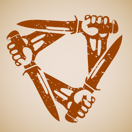 Hands with knives a triangle. Retro styled grunge vector icons. Illustration