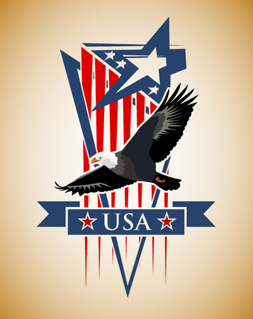 eagle flying: Vector composition with the symbols of the United States. Patriotic label USA. Illustration