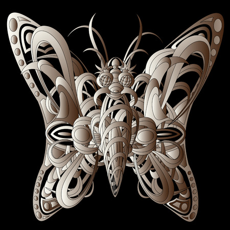 Patterned fantastic creature resembling a butterfly, consisting of interweaving a variety of flexible objects. Isolated collapsible composition.