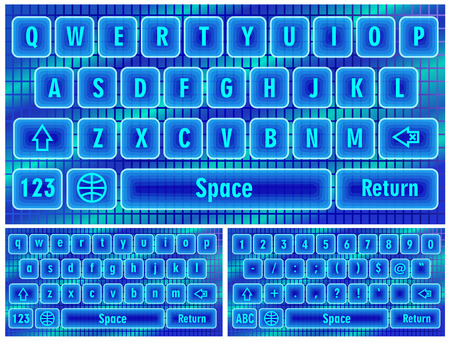 Blue virtual keyboard for a smartphone.