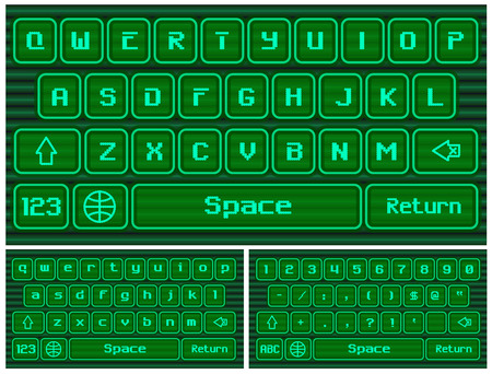 qwerty: Virtual keyboard for a smartphone, stylized old computer.