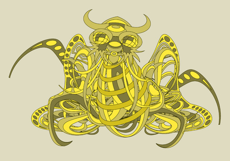 deity: Patterned fantastic creature, deity, demon or an animal resembling a spider or an octopus, consisting of weaves of flexible objects. Tattoo design. Isolated composition.