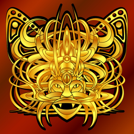 fantastic creature: Patterned fantastic creature, deity, demon or an animal resembling a tiger, with a headdress in the form of a butterfly. African, indian, tattoo design. Isolated composition. Illustration