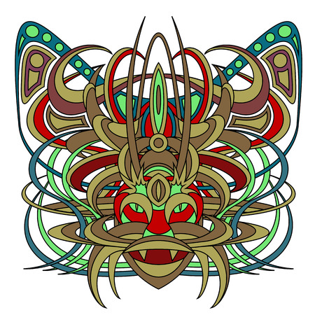 deity: Patterned fantastic creature, deity, demon or an animal resembling a tiger, with a headdress in the form of a butterfly. African, indian, tattoo design. Isolated collapsible composition. Illustration