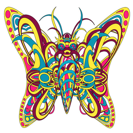 interweaving: Patterned fantastic creature resembling a butterfly, consisting of interweaving a variety of flexible objects. Isolated collapsible composition.