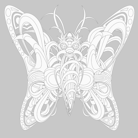 fantastic creature: Patterned fantastic creature resembling a butterfly, consisting of interweaving a variety of flexible objects. Isolated collapsible composition.