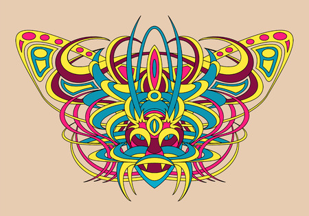 fantastic creature: Patterned fantastic creature, deity, demon or an animal resembling a tiger, with a headdress in the form of a butterfly. African, indian, tattoo design. Isolated collapsible composition. Illustration