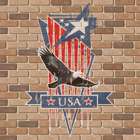 Vector composition with the symbols of the United States. Patriotic label USA grunge on brick wall. 일러스트