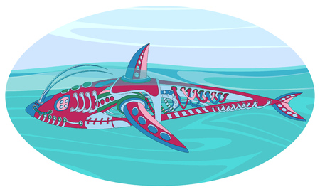 Fantastic floating mechanism reminiscent of a shark. Futuristic or steampunk tattoo design. Isolated vector collapsible composition. Illustration