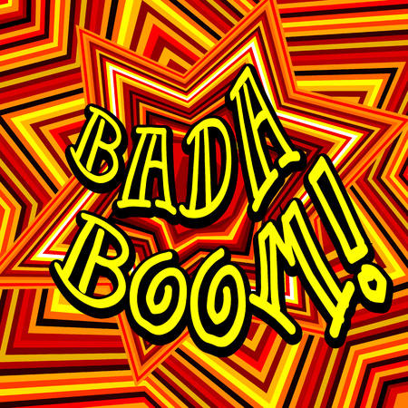 Badaboom comic cartoon. Vector illustration with yellow-red star. Explosion template.
