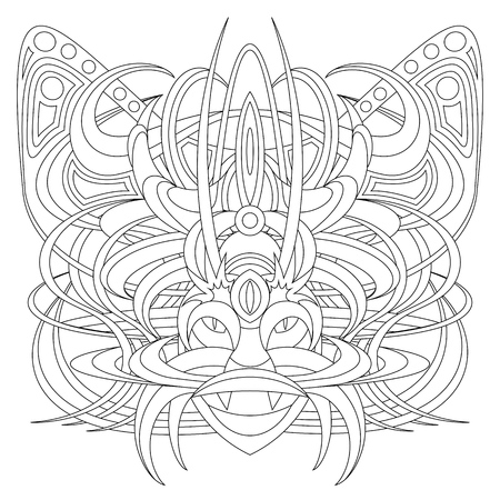 fantastic creature: Patterned fantastic creature, deity, demon or an animal resembling a tiger, with a headdress in the form of a butterfly. African, indian, tattoo design. Isolated vector collapsible composition.