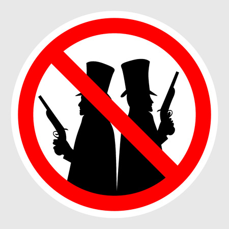 nobleman: Road sign No duels. Sign prohibiting duels. Colored vector illustration.