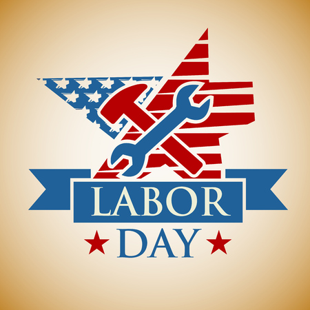 symbolism: Labor Day background. Card Happy Labor Day. Illustration in a stamp style. Hammer and wrench on background US symbolism. Fully editable vector.