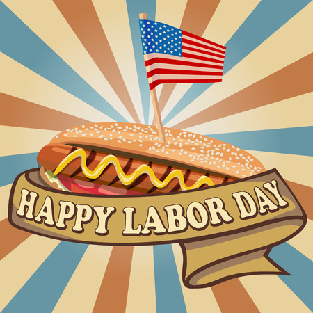Labor Day background. Card Happy Labor Day. Illustration in a flat style. hot dog with USA flag. Fully editable vector.