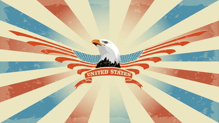 Vector background with the symbols of the United States. Ratio 16:9. Patriotic label USA.