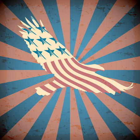eagle flying: Vector background with the symbols of the United States. Patriotic label USA. Illustration