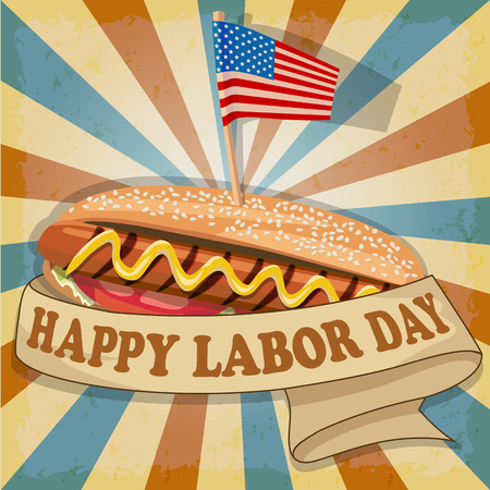 Labor Day background. Card Happy Labor Day. Hot dog with USA flag. Fully editable.