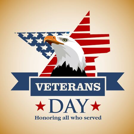 Día de los Veteranos. Feliz Día de los Veteranos. Honrando a todos que sirvieron. La cabeza de águila en un fondo de los colores de la bandera estadounidense. Vector de imagen coloreada. Ilustración de vector