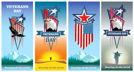 Veterans Day. Happy Veterans day. Honoring all who served. Set flyers greeting cards to veterans day. Vector colored Image.