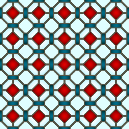 Stained-glass window colored stained glass , abstract geometric seamless pattern. Illustration
