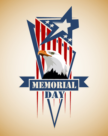 Memorial Day card. Star stylized as the American flag and head of eagle.Color vector illustration. Illustration