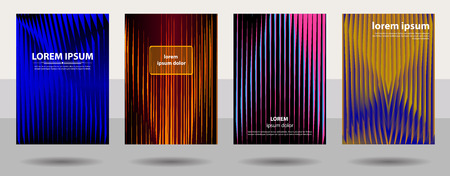 Modern covers design, ratio for format a4. Geometric pattern. Colored vector illustrations.