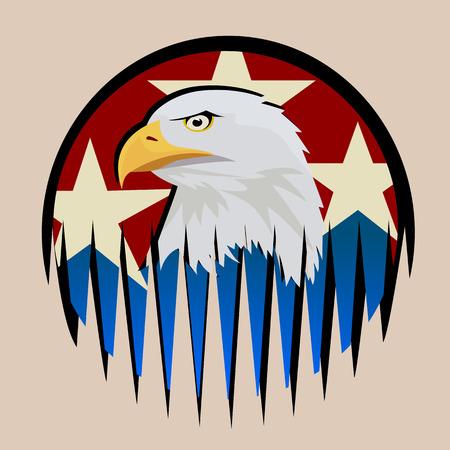 Samenstelling met de symbolen van de Verenigde Staten. Patriottisch label USA. Tatoo ontwerp, gekleurde vector illustratie.
