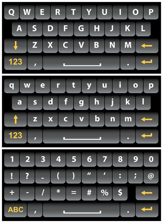qwerty: Black vector virtual keyboard for a smartphone.