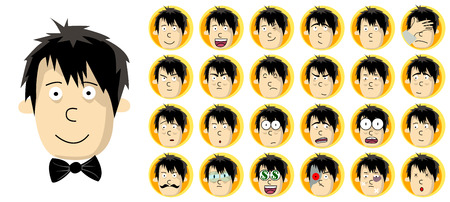 freely: Set of Man Head with Different Facial Expression. Freely editable vector images. Illustration