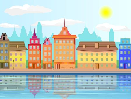 Urban landscape in the afternoon. Ancient houses on the waterfront. Flat design.