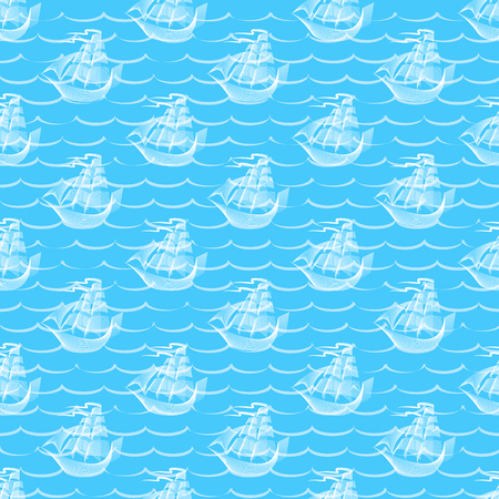 Abstract Retro seamless pattern with sailing ship. Background for gift wrapping. Illustration