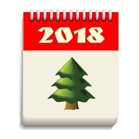 Calendar page poster banner New year 2018 with the Christmas tree.