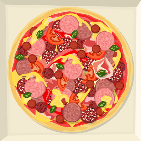 Pizza with ham, various varieties of sausage, cheese, ketchup, vegetables and herbs.