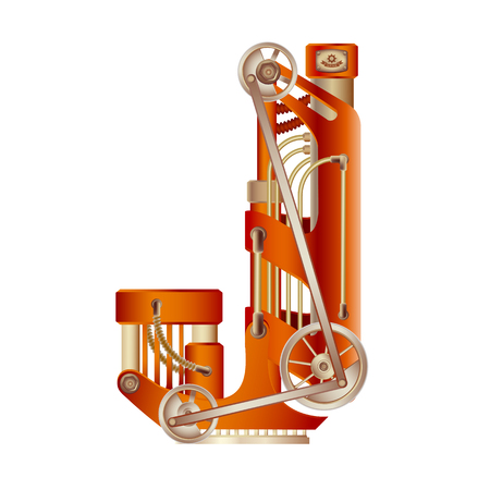 Letter J made of mechanism with hydraulic or pneumatic draft.