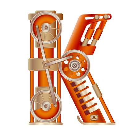 The letter K of the Latin alphabet, made in the form of a mechanism with moving and stationary parts on a steam, hydraulic or pneumatic draft. Isolated freely editable object on white background. Stock Photo