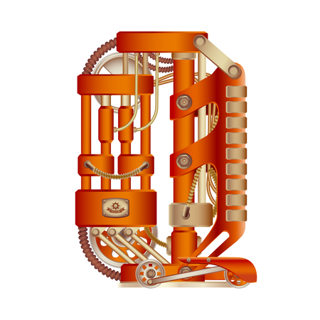 The letter Q of the Latin alphabet, made in the form of a mechanism with moving and stationary parts on a steam, hydraulic or pneumatic draft. Isolated freely editable object on white background.