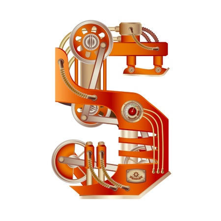 The letter S of the Latin alphabet, made in the form of a mechanism with moving and stationary parts on a steam, hydraulic or pneumatic draft. Isolated freely editable object on white background. Illustration