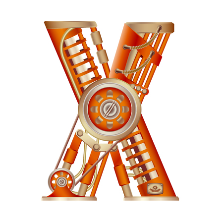 The letter X of the Latin alphabet, made in the form of a mechanism with moving and stationary parts on a steam, hydraulic or pneumatic draft. Isolated freely editable object on white background.