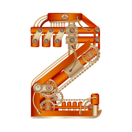 Arabic numeral 2, made in the form of a mechanism with moving and stationary parts on a steam, hydraulic or pneumatic draft. Isolated freely editable objects on a white background. 일러스트