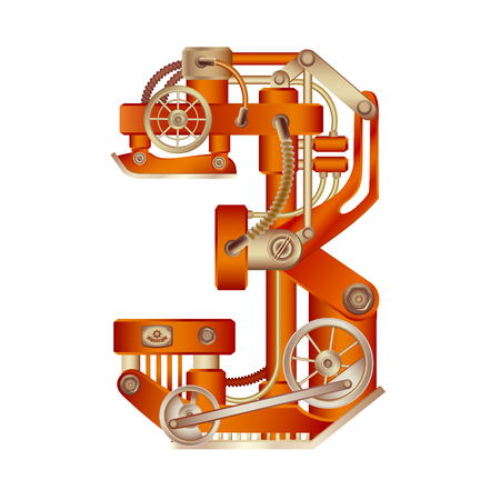 Arabic numeral 3, made in the form of a mechanism with moving and stationary parts on a steam, hydraulic or pneumatic draft. Isolated freely editable objects on a white background.