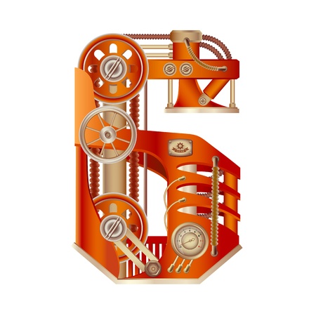 Arabic numeral 6, made in the form of a mechanism with moving and stationary parts on a steam, hydraulic or pneumatic draft. Isolated freely editable objects on a white background.