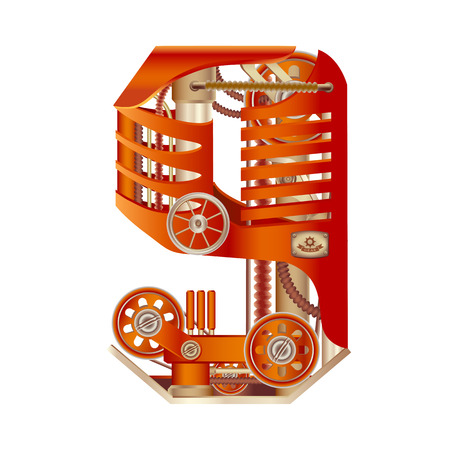 Arabic numeral 9, made in the form of a mechanism with moving and stationary parts on a steam, hydraulic or pneumatic draft. Isolated freely editable objects on a white background.