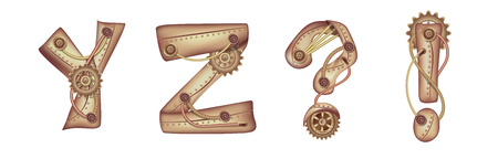 Symbols of the Latin alphabet Y Z and punctuation marks. The letters of the English language. Copper and brass mechanisms with tubes, gears and rivets. Freely editable isolated on white background.