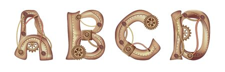 Symbols of the Latin alphabet A B C D. The letters of the English language. Copper and brass mechanisms with tubes, gears and rivets. Freely editable isolated on white background.