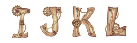 Symbols of the Latin alphabet I J K L. The letters of the English language. Copper and brass mechanisms with tubes, gears and rivets. Freely editable isolated on white background.