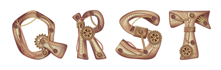 Symbols of the Latin alphabet Q R S T. The letters of the English language. Copper and brass mechanisms with tubes, gears and rivets. Freely editable isolated on white background.